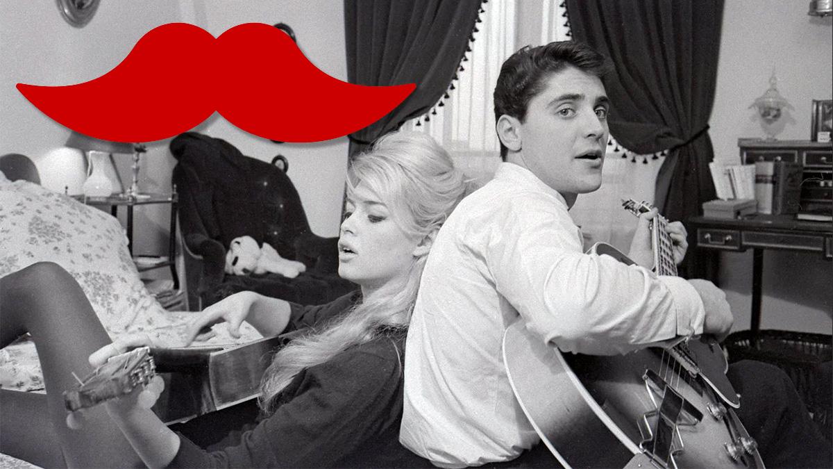 Sacha Distel spelar gitarr tillsammans med Brigitte Bardot