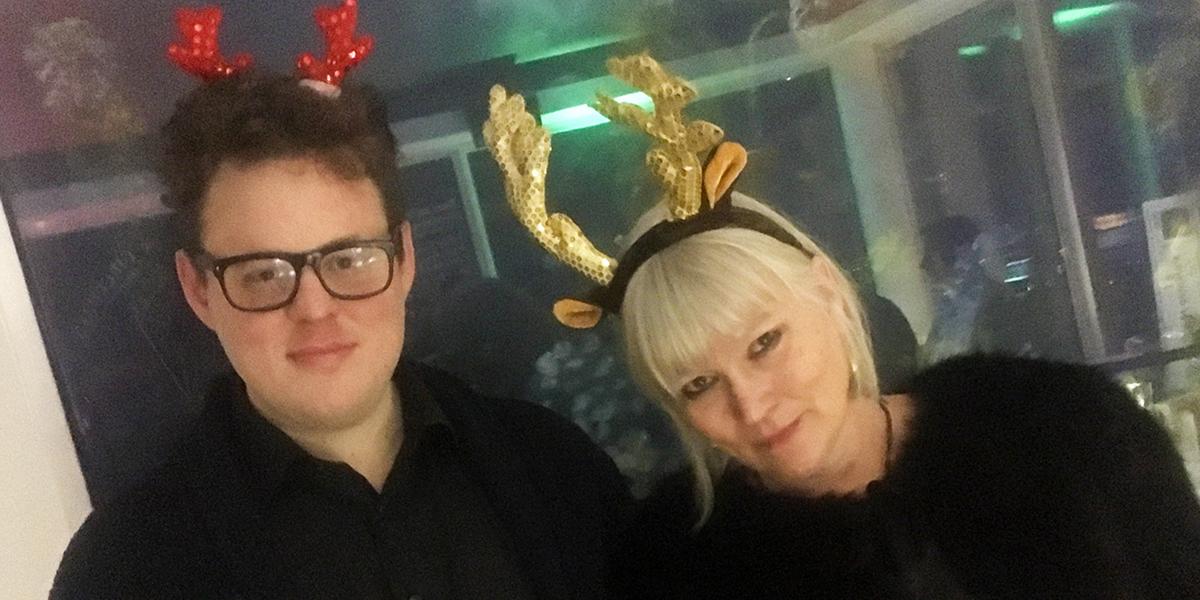 Fredrik af Trampe och Anna-Lena Lodenius på Sunkits julfest 2017 (foto: Magnus Nilsson)
