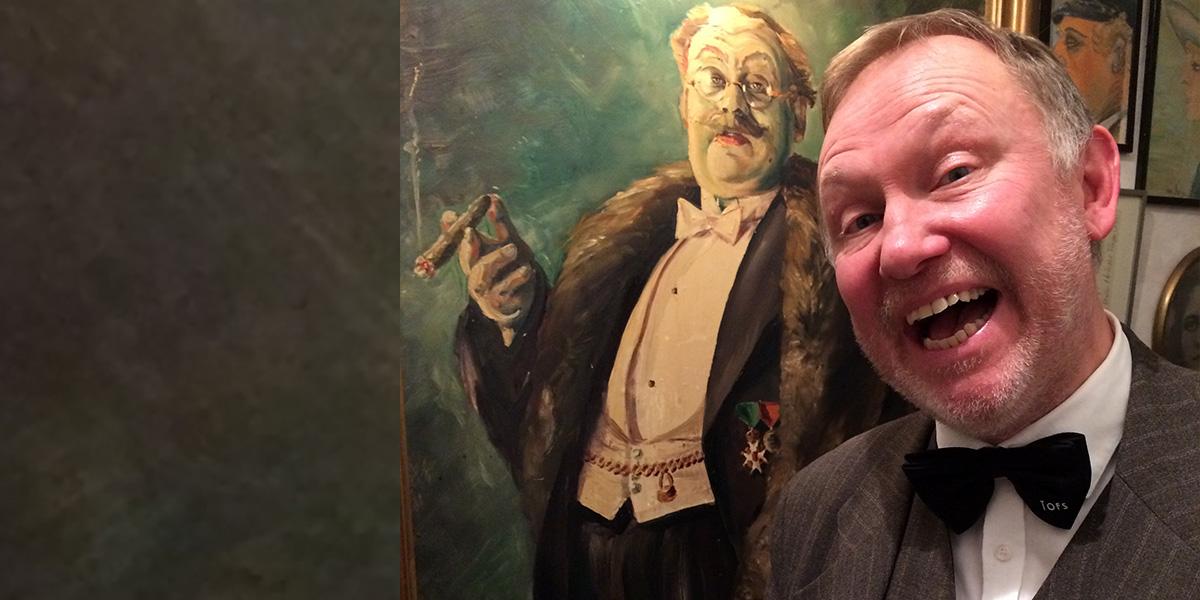 """Lars-Olof """"Lola"""" Lindberg med porträtt av Thor Modéen"""