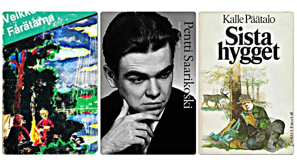 Omslag till böcker av Veikko Huovinen, Kalle Päätalo och Pekka Tarkka (som skriver om Pentti Saarikoski)